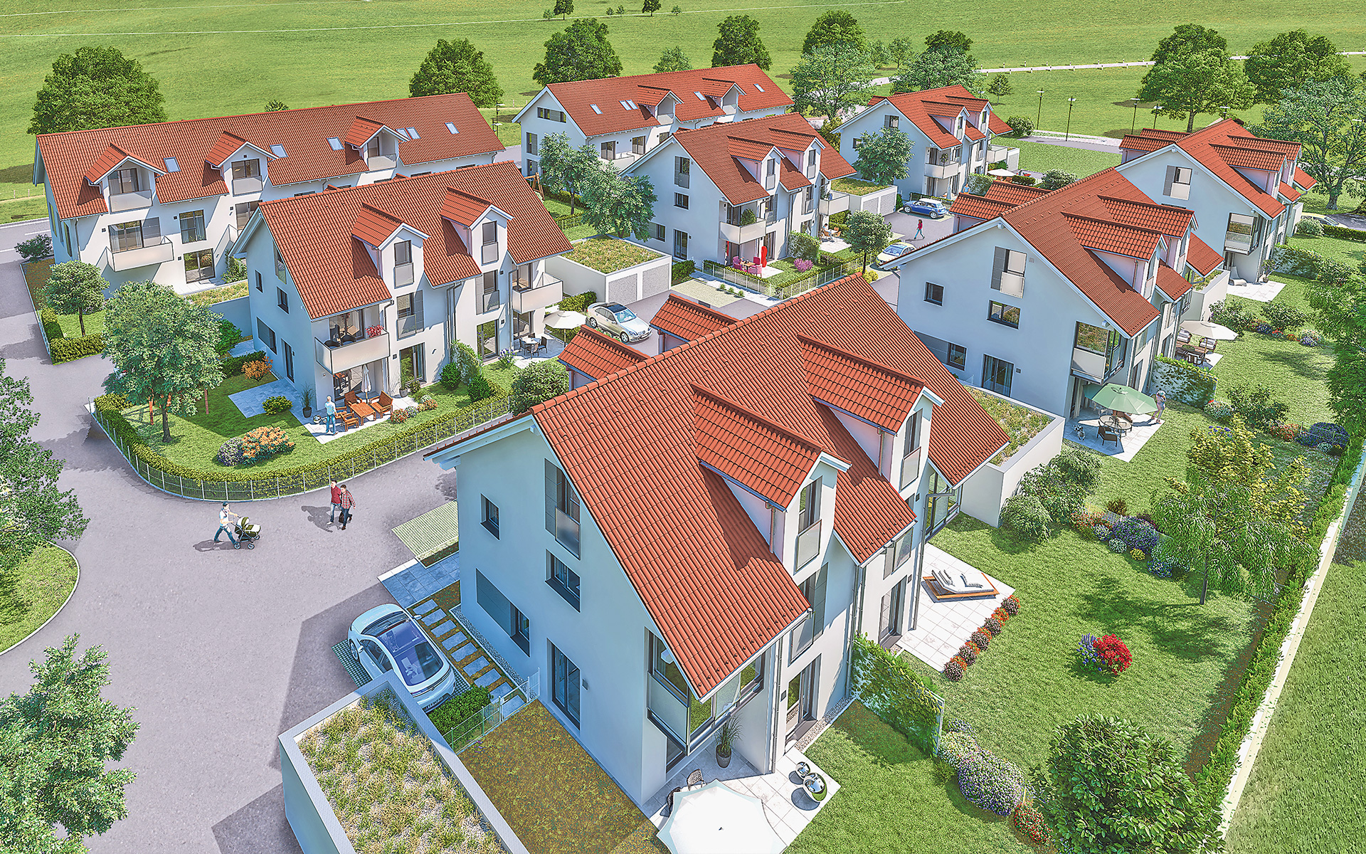 Freehold flats and commercial units, semi-detached houses and one detached house in Grasbrunn.